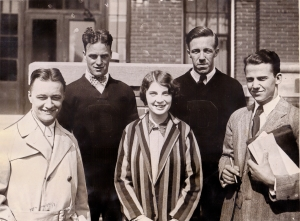 Five out of the six are show here from left to right: Dodd Theile, who testified against Dr. Shields and Miss Rebman, Robert Crawford, president of the senior class, who also testified; Edith King, senior who led the attack on Miss Rebman's morals; Chet Erikson, who testified against Dr. Shields, and K Cedric Peterson, president of the student council who addressed a mass meeting before the riot.