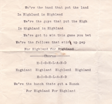 Highland Park College Yell (1913)