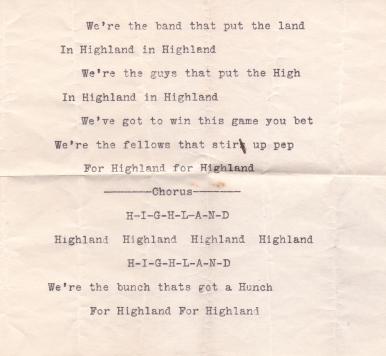 Highland Park College Yell (1913)